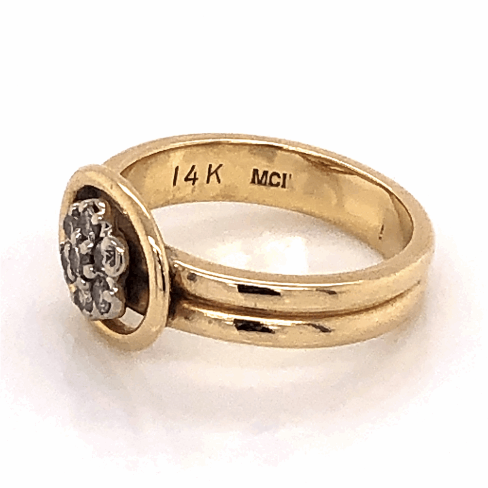 Image 2 for 14K Yellow Gold Double Shank Diamond Cluster Ring .20tcw 3.9g, s4.5