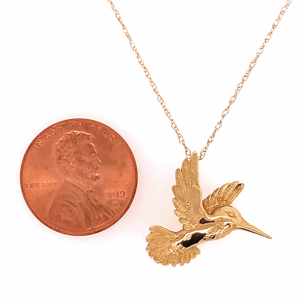 """Image 2 for 14K Yellow Gold Hummingbird Necklace on 18"""" Chain 2.8g"""