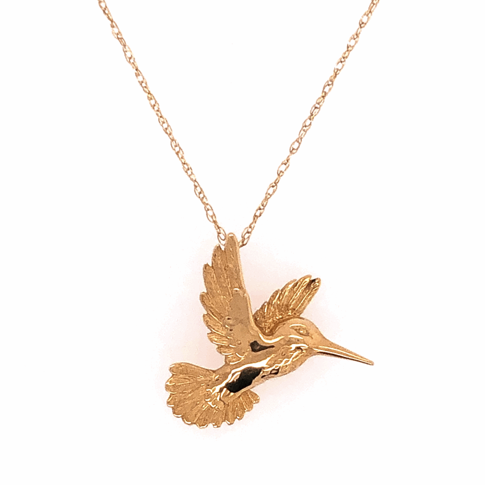 """14K Yellow Gold Hummingbird Necklace on 18"""" Chain 2.8g"""