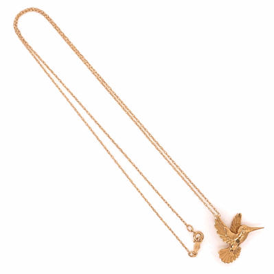 "Closeup photo of 14K Yellow Gold Hummingbird Necklace on 18"" Chain 2.8g"