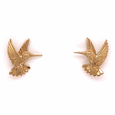 Closeup photo of 14K Yellow Gold Hummingbird Earrings 2.2g Post & Friction Backs