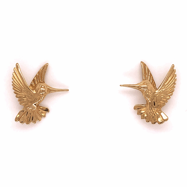 Closeup photo of 14K Yellow Gold Hummingbird Earrings 2.2g Post & Friction Backs