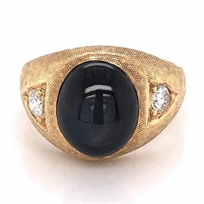 Closeup photo of 14K Yellow Gold Mens 5ct Black Star Sapphire & .25tcw Diamond Ring 7.8g, s9