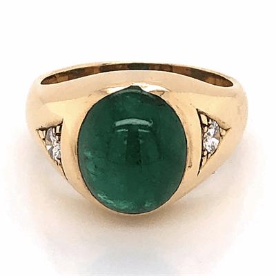 Closeup photo of 14K Yellow Gold Mens 6ct Cabochon Emerald & .37tcw Diamond Ring 10.5g, s9.75