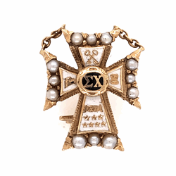 Closeup photo of 14K Yellow Gold Sigma Chi Cross Badge Brooch Pin 2.8g Enamel & Seed Pearls