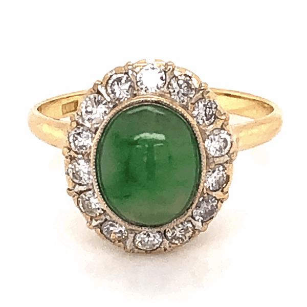 Closeup photo of 18K Yellow Gold 1960's 1.50ct Jade & .42tcw Diamond Ring 2.6g, s4.75