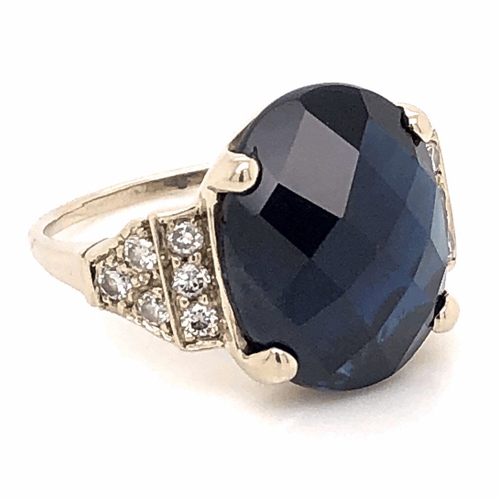 Image 2 for 18K White Gold 10ct Oval Checkerboard Blue Sapphire & .45tcw Diamond Ring 7.4g, s8