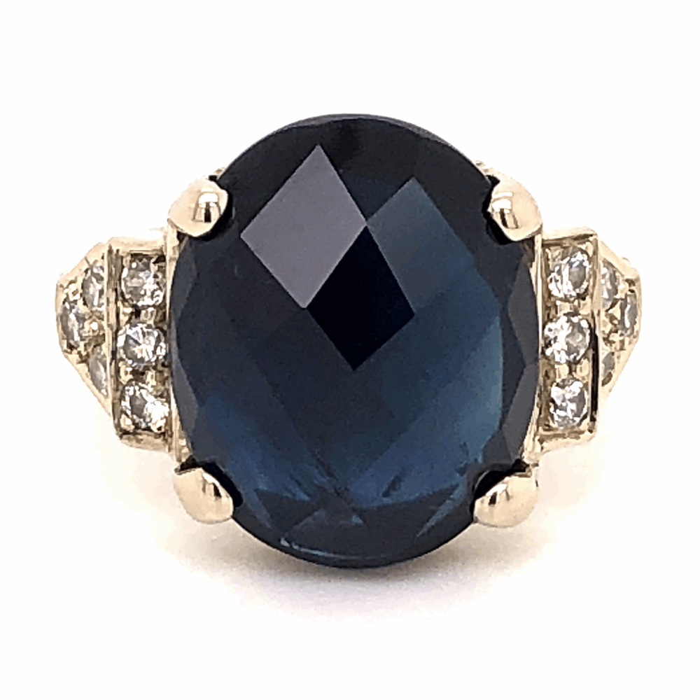 18K White Gold 10ct Oval Checkerboard Blue Sapphire & .45tcw Diamond Ring 7.4g, s8