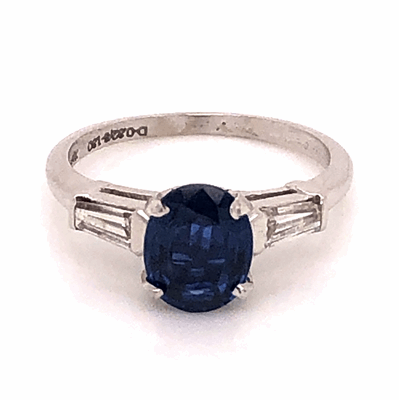 Closeup photo of Platinum 1950's 1.30ct Oval Sapphire & .32tcw Diamond Baguette Ring 3.7g, s5.75