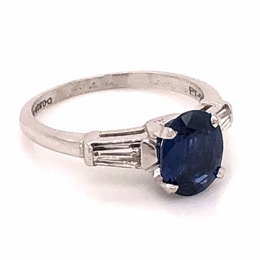 Image 2 for Platinum 1950's 1.30ct Oval Sapphire & .32tcw Diamond Baguette Ring 3.7g, s5.75