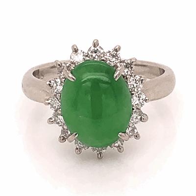 Closeup photo of Platinum 2ct Oval Jadeite Jade & .46tcw Diamond Halo Ring 6.4g, s6
