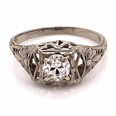 Closeup photo of 18K White Gold Art Deco .40ct OEC Diamond Filigree Ring 2.1g, s6