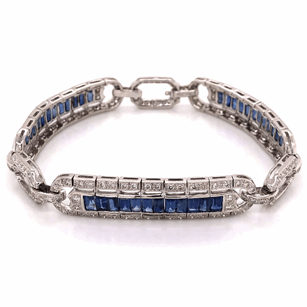 "Closeup photo of 18K White Gold Art Deco Style 3.00tcw Diamond & 4.50tcw Sapphire Bracelet 23.7g, 7.25"" Long"