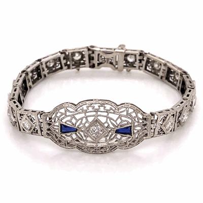 "Closeup photo of 14K White Gold Art Deco Filigree Bracelet 1.90tcw Diamonds & .25tcw Sapphires 10.9g 6-3/8"" Long"