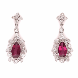 "Closeup photo of 18K White Gold 1.72tcw Pear Rubellite Red Tourmaline & .61tcw Diamond Earrings 5.3g, 1-1/8"" Tall"