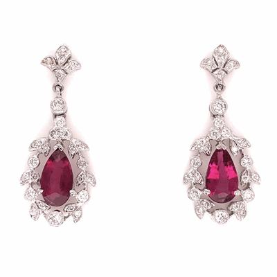 "Closeup photo of 18K White Gold 1.72tcw Pear Rubelite Red Tourmaline & .61tcw Diamond Earrings 5.3g, 1-1/8"" Tall"