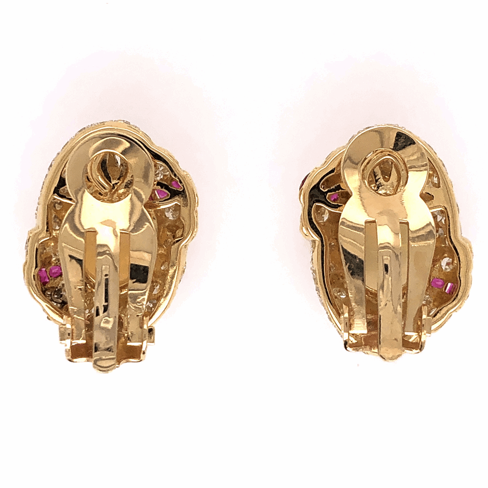 Image 2 for 18K Yellow Gold (2)2.00tcw W. Opal and 1.75tcw diamond earrings with rubies