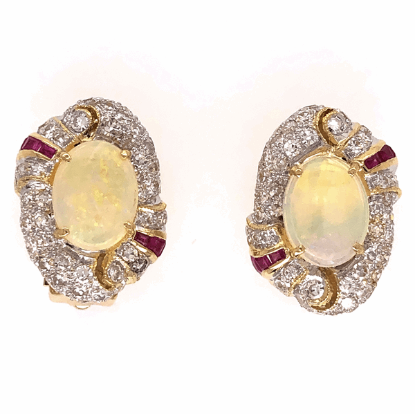 Closeup photo of 18K Yellow Gold (2)2.00tcw W. Opal and 1.75tcw diamond earrings with rubies