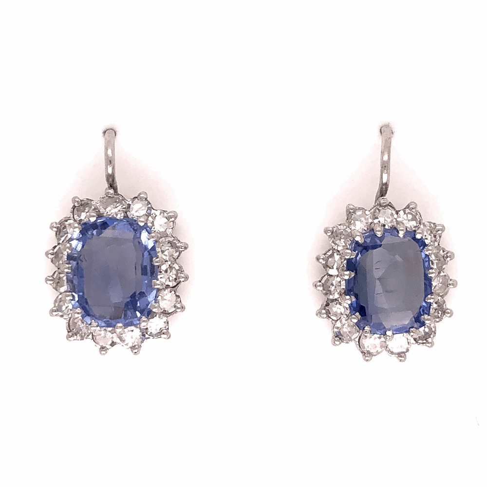 Platinum Art Deco 5.50tcw Sapphire Earrings w/ 1.40tcw diamonds