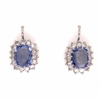 Closeup photo of Platinum Art Deco 5.50tcw Sapphire Earrings w/ 1.40tcw diamonds
