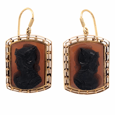 Closeup photo of 14K Yellow Gold Victorian Earrings carved Cameo 12.2g c1870's