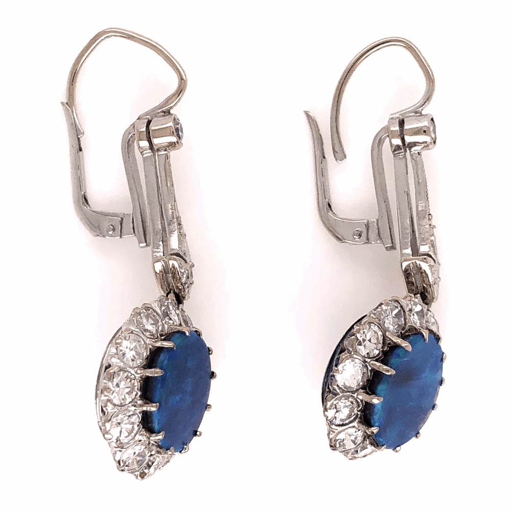 Image 2 for 14K White Gold Art Deco 3.25tcw Round Black Opal drop Earrings with 1.75tcw diamonds