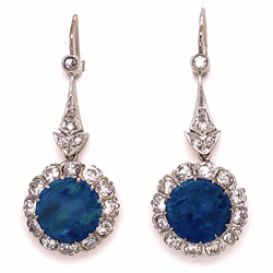 Closeup photo of 14K White Gold Art Deco 3.25tcw Round Black Opal drop Earrings with 1.75tcw diamonds