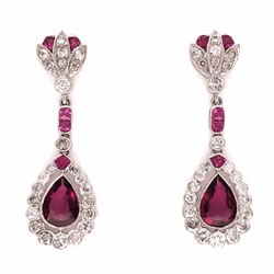 "Closeup photo of 18K White Gold Rubelite Tourmaline & 1.47tcw Drop Diamond Earrings 5.8g, 1.5"" tall"