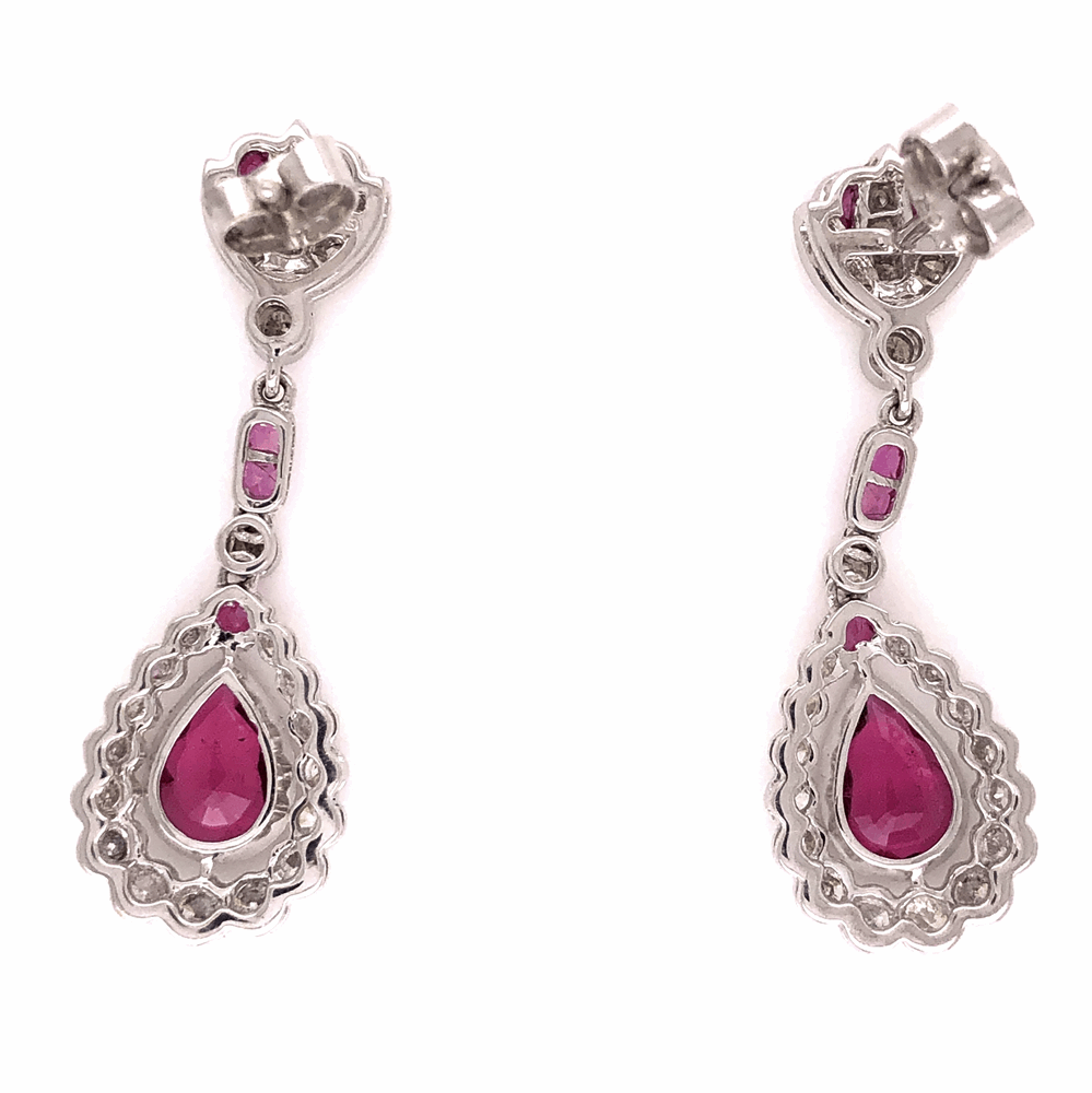 "Image 2 for 18K White Gold Rubellite Tourmaline & 1.47tcw Drop Diamond Earrings 5.8g, 1.5"" tall"