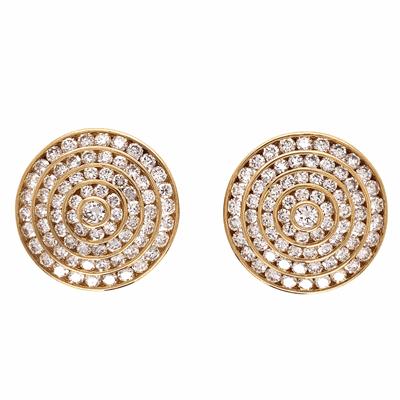 "Closeup photo of 18K Yellow Gold 5 Row Diamond Circle Earrings 3.95tcw 18.3g, .80"" Diameter"