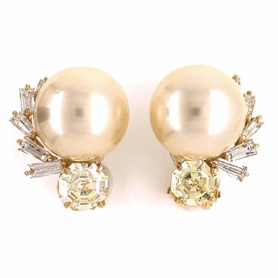 Closeup photo of 18K Yellow Gold 12.3mm South Sea Pearl & 2.25tcw Diamond Earrings 10.1g