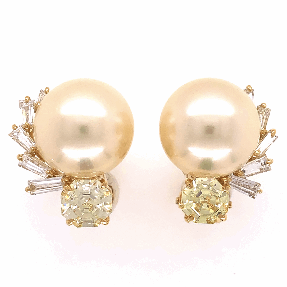 Image 2 for 18K Yellow Gold 12.3mm South Sea Pearl & 2.25tcw Diamond Earrings 10.1g