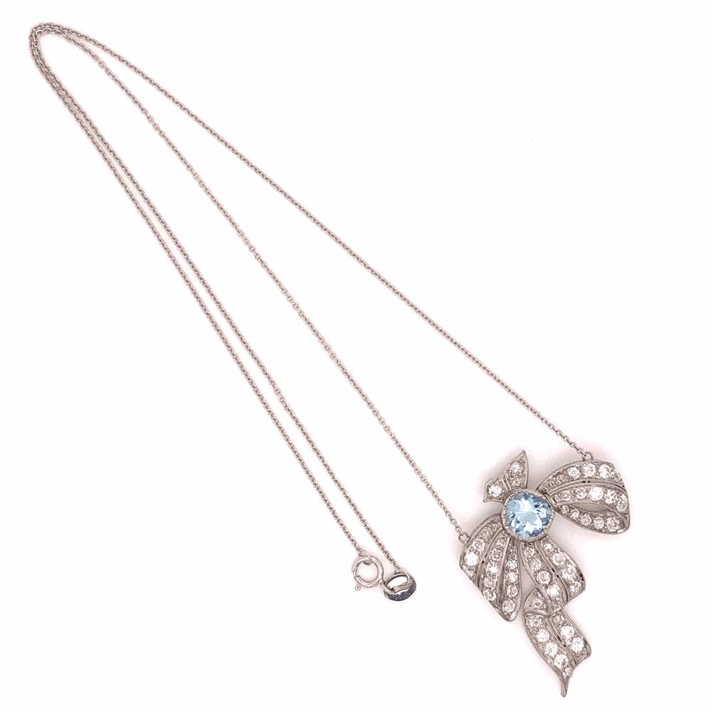 Image 2 for Platinum Art Deco 1.5ct Aquamarine & 1.90tcw Diamond Bow Necklace 8.3g, 17' Chain