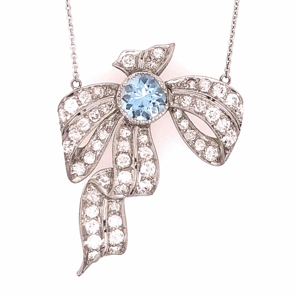 Platinum Art Deco 1.5ct Aquamarine & 1.90tcw Diamond Bow Necklace 8.3g, 17' Chain