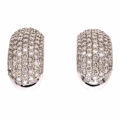 Closeup photo of 18K White Gold 7 Row Diamond Cluster Huggie Earrings 3.00tcw 9.6g