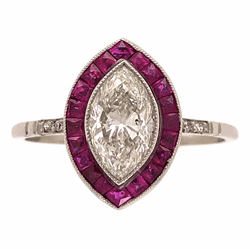 Platinum 1.02ct Marquis Diamond & 1.20tcw Ruby Halo Ring, s7