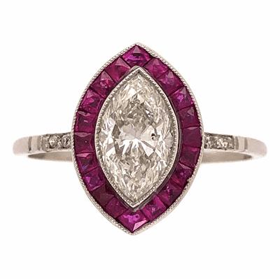 Closeup photo of Platinum 1.02ct Marquis Diamond & 1.20tcw Ruby Halo Ring, s7