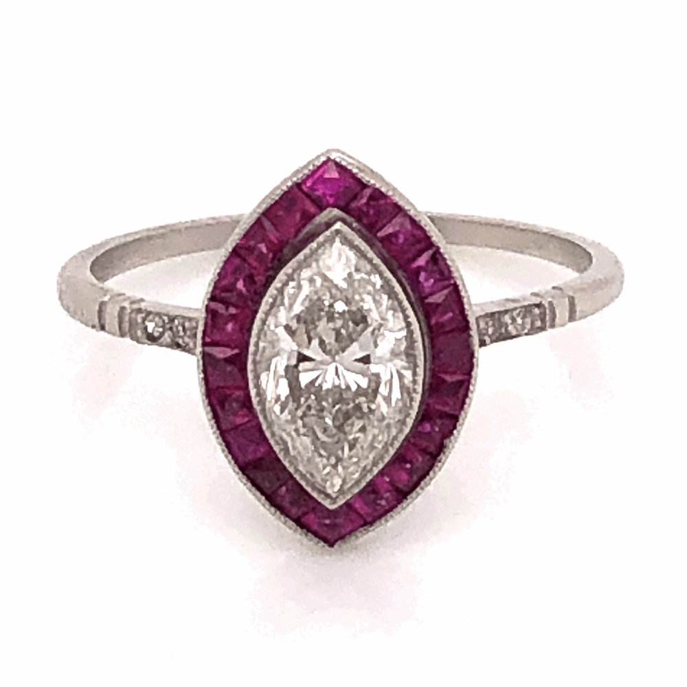 Image 2 for Platinum 1.02ct Marquis Diamond & 1.20tcw Ruby Halo Ring, s7
