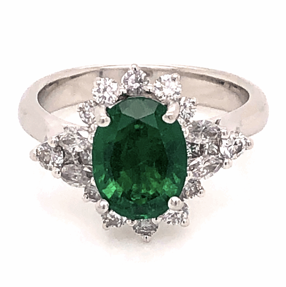 Image 2 for Platinum 2.64ct Oval Emerald GIA & 1.10tcw Diamond Ring Designer JYES, s7.5