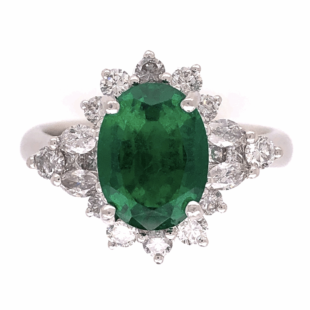 Platinum 2.64ct Oval Emerald GIA & 1.10tcw Diamond Ring Designer JYES, s7.5