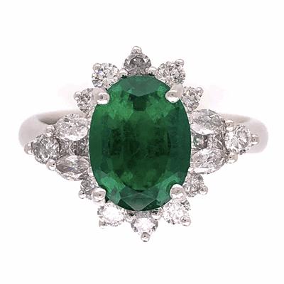 Closeup photo of Platinum 2.64ct Oval Emerald GIA & 1.10tcw Diamond Ring Designer JYES, s7.5