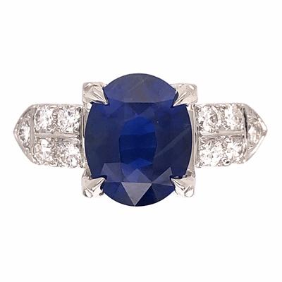 Closeup photo of Platinum 3.39tcw Oval Sapphire & .60tcw Diamond Ring 7.3g, s6.5