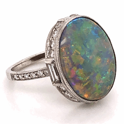 Platinum Art Deco Dark Grey 5.37ct Opal & 1.15tcw Diamond Ring 6.5g, s7