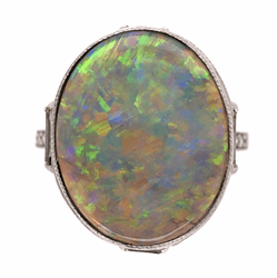 Closeup photo of Platinum Art Deco Dark Grey 5.37ct Opal & 1.15tcw Diamond Ring 6.5g, s7