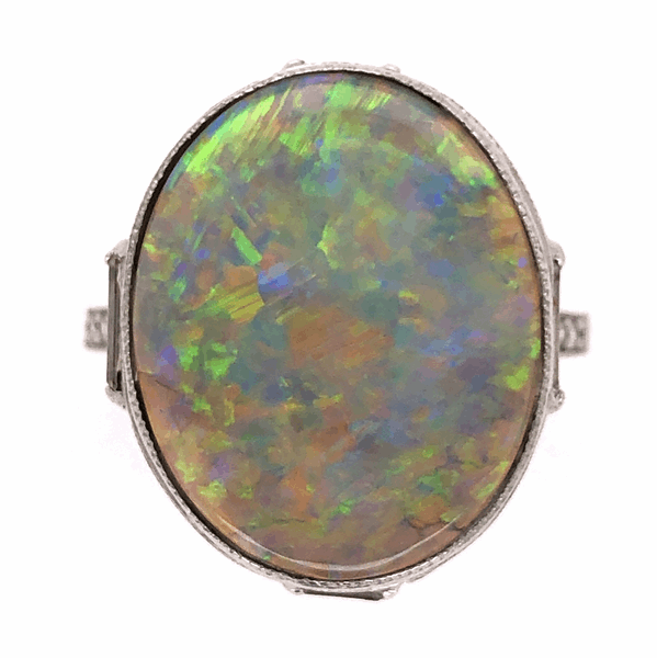 Closeup photo of Platinum Art Deco Dark Grey 5.37ct Opal & 1.15tcw Diamond Ring 6.5g, s7