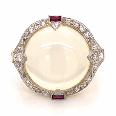Closeup photo of Platinum & 18K Yellow Gold Edwardian 14ct Moonstone Ring with .86tcw Diamond & .30tcw Rubies