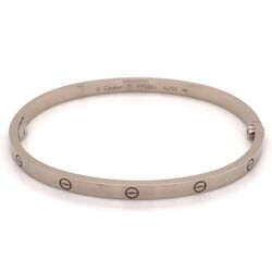 Closeup photo of CARTIER LOVE Bracelet, SM 18K White Gold Slim Version size 17