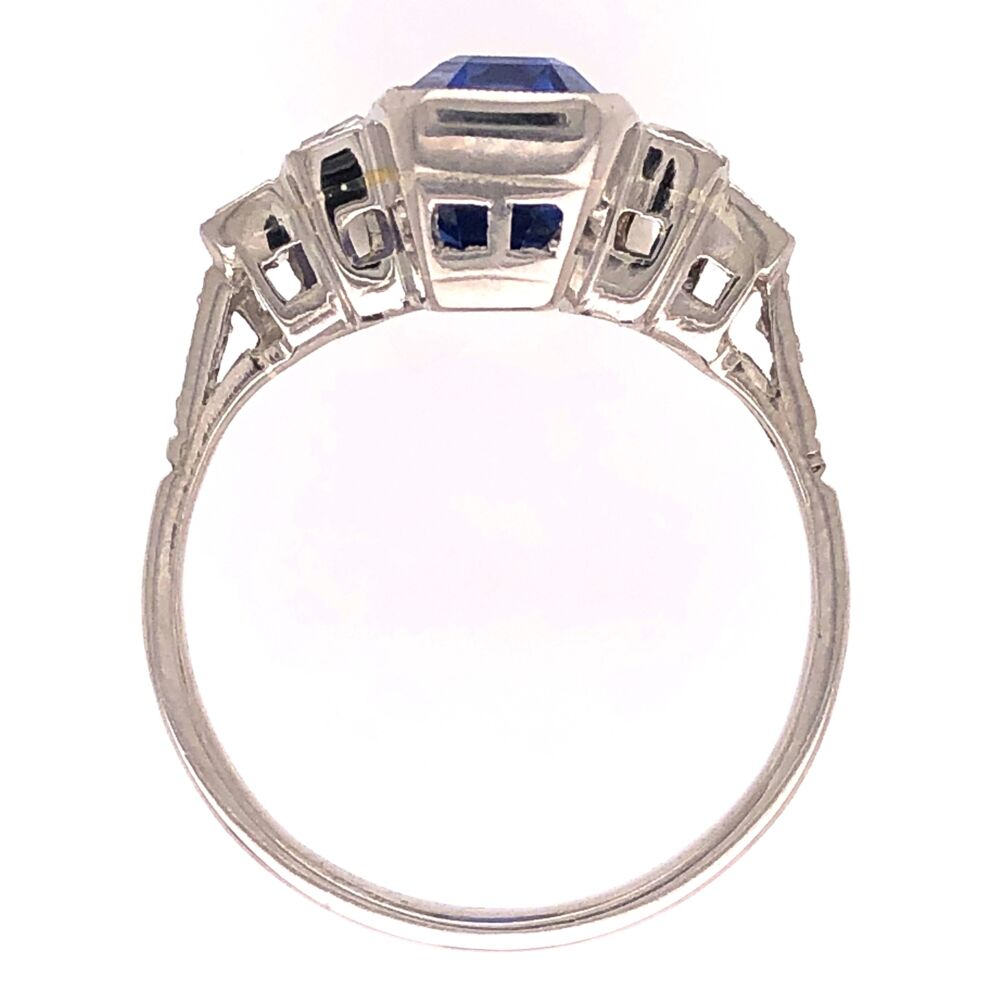 Image 2 for Platinum Art Deco 4.36ct Long Sapphire & .66tcw French Cut Diamond Ring 5.0g, s6.5