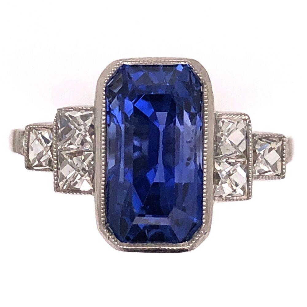 Platinum Art Deco 4.36ct Long Sapphire & .66tcw French Cut Diamond Ring 5.0g, s6.5