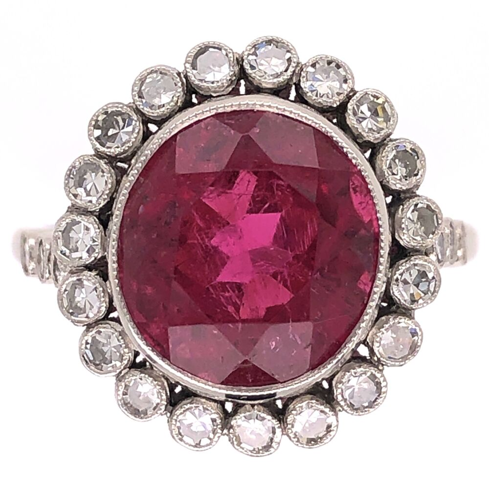 Platinum Art Deco 4.80ct Rubellite Pink Tourmaline & .53tcw Diamond Ring 5.8g, s6.75